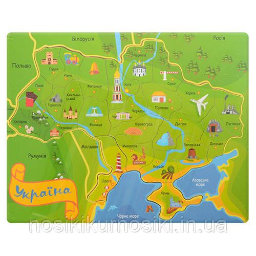 Дерев'яні іграшки пазли карта України