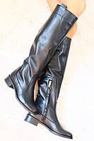 Сапоги зимние высокие черные кожаные без каблука низкий ход