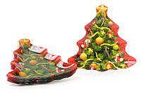 Тарелка стеклянная 21см в форме елки, новогодняя посуда
