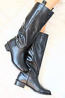 Сапоги черные кожаные трубы без змейки зимние на меху