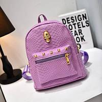 Фиолетовый женский рюкзак с черепом из кожзама под кожу питона
