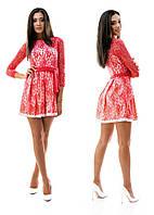 Гипюровое вечернее коралловое платье на подкладке