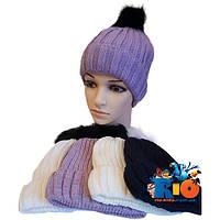 Зимняя вязаная шапочка арт.259 , на флисовой подкладке , для девочек (р-р 52-54)