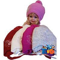 Зимняя вязаная шапочка арт.331 , на утеплителе , для девочек (р-р 50-52)