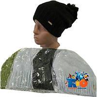 Зимняя вязаная шапочка арт.113 , на флисовой подкладке , для детей (р-р 52-54)
