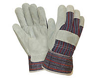 Перчатки спилковые комбинированные с цельной ладонью MASTERTOOL (упаковка 10 пар)