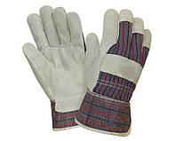 Перчатки спилковые комбинированные с цельной ладонью MASTERTOOL (спилок+х/б)