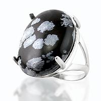 Обсидиан снежный, серебро 925, кольцо, 118КО
