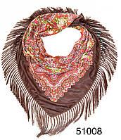 Павлопосадский шерстяной платок коричневый, фото 1