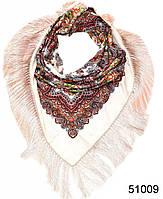 Павлопосадский шерстяной платок бежевый, фото 1