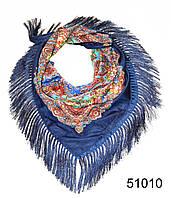 Павлопосадский шерстяной платок темно-синий, фото 1