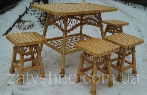 Комплект кухонной плетеной мебели из лозы, фото 1