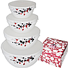 Набор емкостей для хранения продуктов 4 шт стеклокерамика Красное и черное