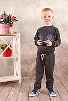 Реглан для мальчика темно-серый, ультрамарин 3-8 лет размер 108-128