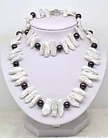 Бусы / Ожерелье из Жемчуга Бива (Кеши) и ЧЕРНОГО ЖЕМЧУГА / Рубиновая Мечта