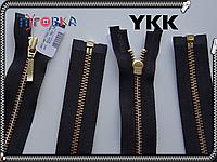 Молния метал YKK 18, 50, 60, 70cm 580 черная 1бегунка №3 золото