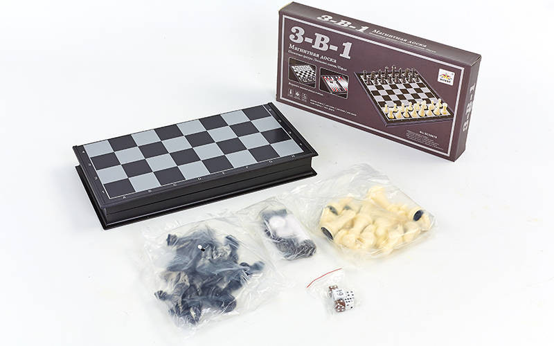 Шахматы, шашки, нарды магнитные дорожные 47 х 47 см