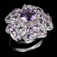 Серебряное кольцо 925 пробы с натуральным аметистом. Размер 17,8