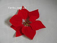 Большая бархатная пуансетия(головка), цвет красный(d=20см)