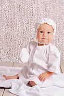 Крестильный комплект рубашка для мальчика лен  белый без крыжмы размер 62, 68, 74