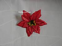 Новогодний цветок пуансетия(головка), цвет красный блестящий(d=12см)