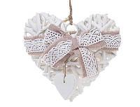Новогодний подвесной декор из ивы Сердце 25см с розовым бантом