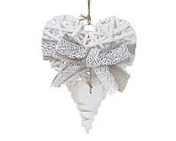 Новогодний подвесной декор из ивы Сердце 20см с серым бантом