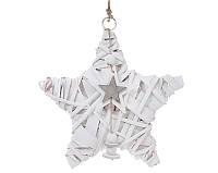 Новогодний подвесной декор из ивы Звезда 20см с подвеской