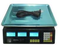 Торговые электронные весы Crystal 50 kg (6 v), Электровесы со счетчиком цены Crystal CR 50 kg 6v (2gm)