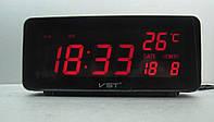 Электронные настольные часы VST-763W-1  с красной подсветкой +датчик температуры и дата