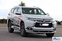 Mitsubishi Pajero Sport 2015+ гг. Передняя защита ST016 (нерж)