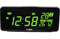 Электронные настольные часы VST-763W-4 с зеленой подсветкой +датчик температуры и дата