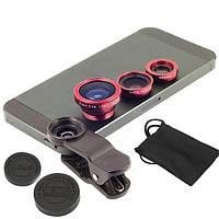 Универсальный набор объективов линз для телефона 3 в 1 Fisheye Macro Wide