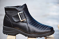Ботинки полусапожки зимние на меху легкая подошва женские черные 2016. Лови момент