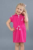 Детское хлопковое платье с кантиком, размер 98-128, для девочки 3-8 лет Модный карапуз Малиновый 03-00506-2