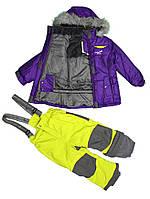Зимний термокостюм для девочки 4-6, 10-12 лет р. 104-116, 140-152 (куртка, брюки, манишка) ТМ PerlimPinpin VH255A