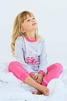 """Пижама детская """"Совушки"""" для девочки 4-7 лет из интрелока р. 110-122 ТМ Модный карапуз Серо-розовый 03-00674-3"""