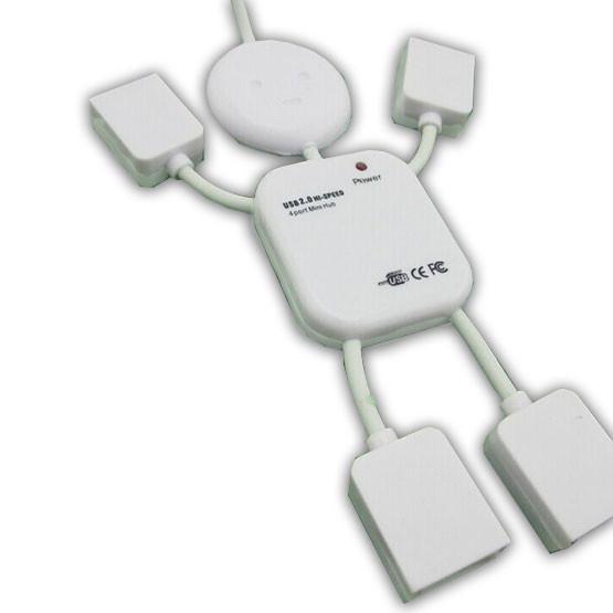 Разветвитель 4USB Белый юсб хаб человечек 4 порта usb hab usb 2.0 для пк ноутбук компьютер портативный
