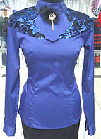 Блуза синяя, с гипюром