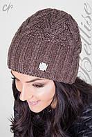 Качественная женская вязанная теплая шапка