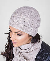 Красивый женский вязанный комплект из шапки и шарфа