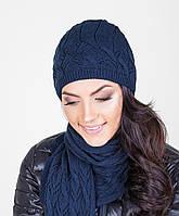 Модный женский вязанный комплект из шапки и шарфа