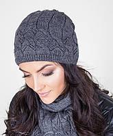 Качественный женский вязанный комплект из шапки и шарфа