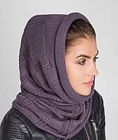 Стильный женский вязанный капор-шарф