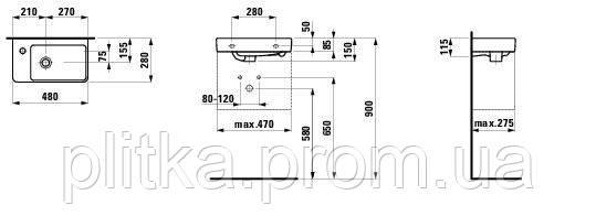 PRO S умывальник 480х280 мм, отверстие справа LAUFEN, фото 2