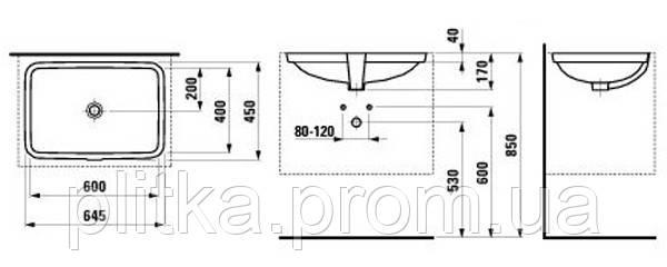 PRO S Умывальник 625х600 мм, встраиваемый LAUFEN, фото 2