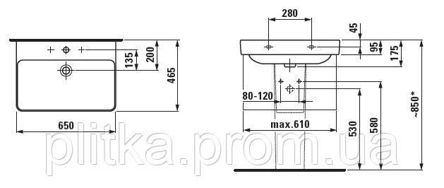 PRO S умывальник 650х465 мм с отверстием LAUFEN, фото 2
