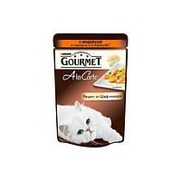GOURMET A La Carte Консервы для кошек с индейкой au Melange de Legumes в подливке с зеленым горошком и морковью, 85 г