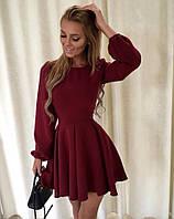 Платье бордового цвета с юбкой на складах