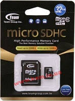 Карта памяти Team 32 GB microSDHC Class 10 + SD Adapter (TUSDH32GCL1003)